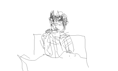 drawing of me eating soda bread and cheese in bed