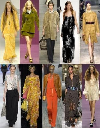 "Revived 1960's & 70's styles: The hippie era came around in the begining of the 60's. They introduced the beards, headbands, lon hair, and long skirts. There are still styles comin down the runway with a hippie inspired look. Our ""bohemian"" look derived from the Hippies fashion."
