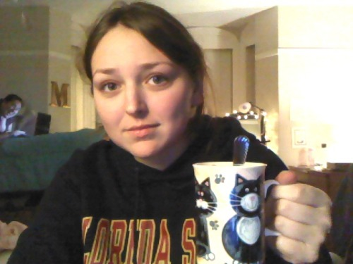 crohnsandarthritis:  It's a hot-chocolate-in-a-cat-mug-because-Hannah-is-exhausted-but-has-work-to-do night. And my roommate is creepin'.