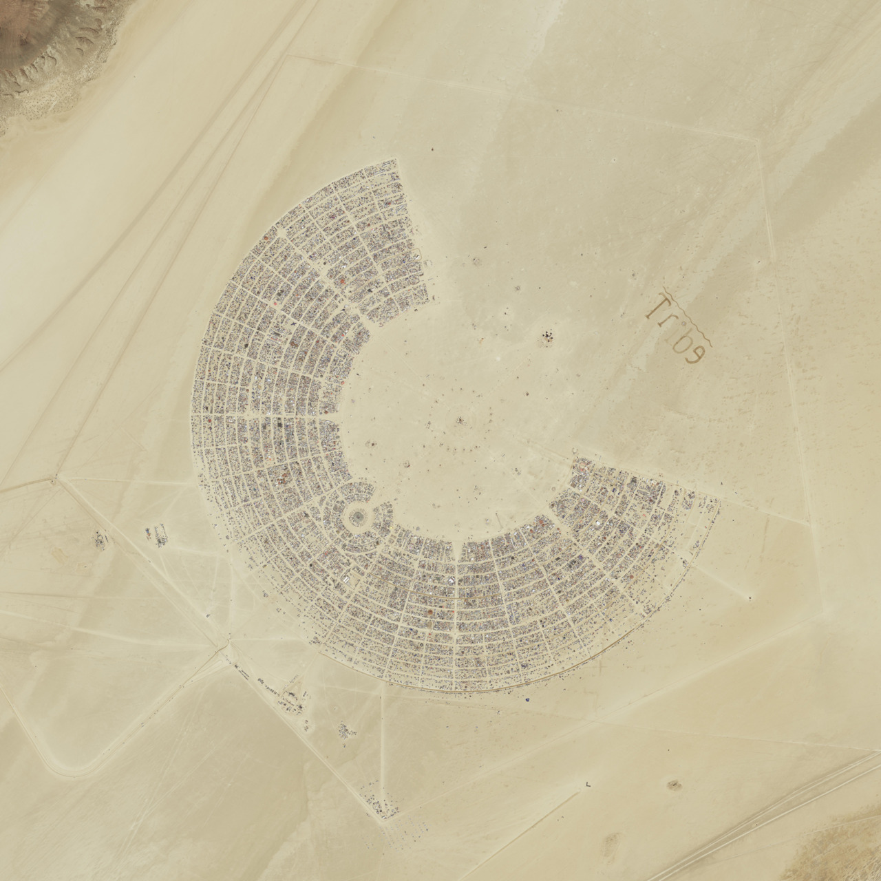 Black Rock City from above: Burning Man 2011 An awesome hi-res aerial image of Black Rock City in 2011, captured by the GeoEye satellite from more than 400 miles above the Earth's surface. See if you can spot your camp! Explore more fantastic Hi-Res satellite images at www.GeoEye.com