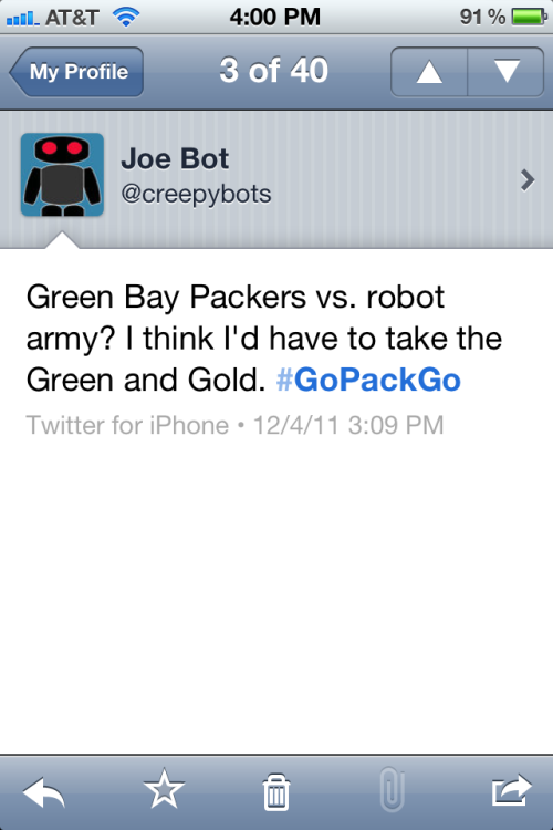Green Bay Packers vs. robot army