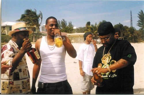 "theconcretearchives:  Bun B, Jay-Z, and Pimp C share a moment on set of ""Big Pimpin', in Trinidad during it's Carnival, 1999. Happy Birthday HOVA & R.I.P Pimp Chad."