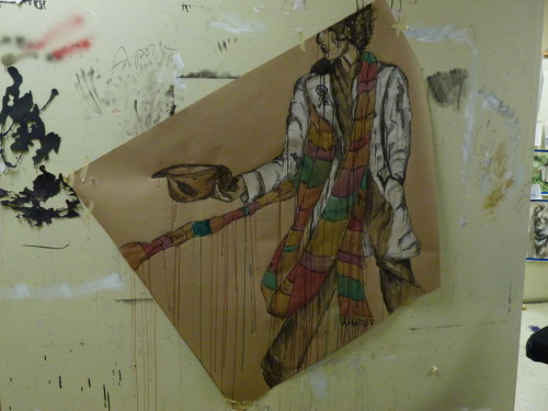 The 4th Doctor, Tom Baker. by tolkien-andthe-tardis India ink, acrylic, graphite on light cardboard paper. 4.5x5 feet.
