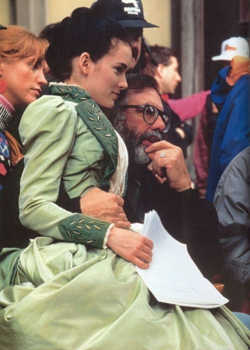 suicideblonde:  Winona Ryder and Francis Ford Coppola during the filming of Dracula in 1992