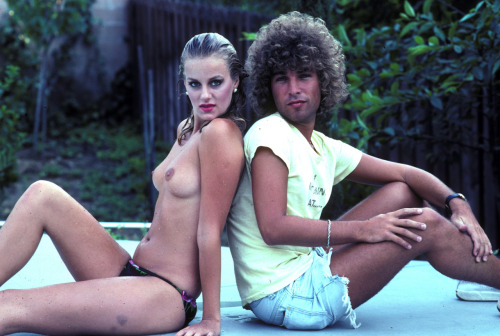 Me with Kari Klark at my pool in 1980. She would come over, swim naked in my pool and I would take photos.  Photo by Brad Elterman