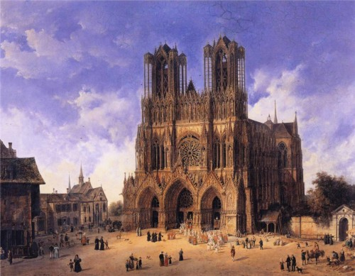 emily-whaaa:  Reims Cathedral - Domenico Quaglio - 1833 oil on canvas