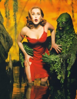 film Celebs horror red head pin up gillian anderson pinup x-files slip swamp thing