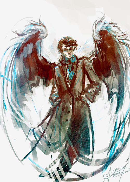 alicexz:  Scribble for the best and most beautiful Sherlock wing!fic in the entire world. I'm sorry I am bad at drawing wings still I NEED MORE PRACTICE.