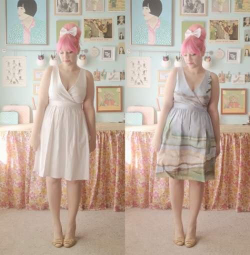 missmossblog:  painting your own dress = awesome Scathingly Brilliant: DIY Anthropologie landscape dress  what a cute idea!