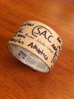 This is the first roll of duct tape that I used this semester. I wrote the registered student organizations that gave me posters to hang poster on the wall on the side of the roll. I did that because the roll represents all of the work that I did while hanging up posters in the hallways. Before I came back to school previous RAs advised me to buy lots of duct tape and I have certainly found that to be good advice. It is important to be consistent with the posters and flyers in the hall. Keeping posters up to date keeps residents informed and shows them that you care about them and maintaining your floor. All of the organizations written on the side of the uses roll of tape gave residents life posters to hang on the walls of the dorm. I kept my floor up to date throughout the semester.