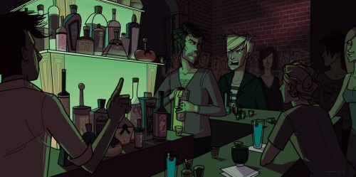 Rage: Bar. Visual development piece for my senior project. Digital, 2011.