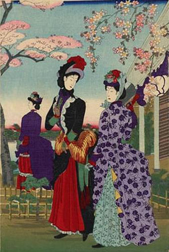 Chikanobu Toyohara, Meiji Ladies at Ueno Park, 1880s on Flickr.