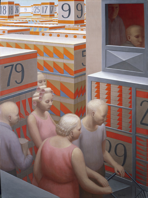 The Supermarket by George Tooker, 1972. Egg tempera on Panel