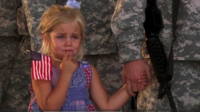 jayden-colina:   Story behind this? Her dad was leaving on a 2 year deployment. She was crying, and wouldn't let go of her dad's hand, even when he stood in line, saluting. No one had the heart to break them apart.  :(   this made me cry