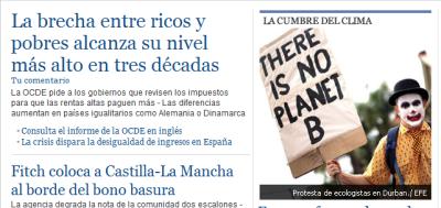 """Abro el navegador, entro en una página web de noticias, y me encuentro este panorama. El """"pantallazo"""" me ha parecido significativo; retrata el momento que atravesamos. """"No hay planeta B""""; muy bueno. Hace ya tiempo era noticia que por primera vez superábamos los 4 millones de parados en España; hoy estamos al borde de los 5. También era noticia hace 2 años la cumbre de Copenhague como última oportunidad para evitar el cambio climático; pero todo sigue igua"""