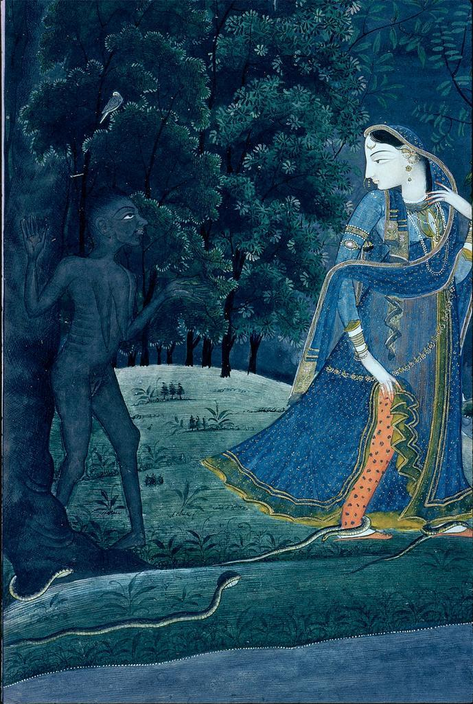 Krishna-Abhisarika Nayika meets a witch and snakes on the way to meeting her lover, Detail from an early 19th century Indian miniature painting (Period - Rajput, Pahari, Kangra school), ink and color on paper. Via The Sunshine State