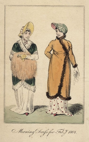 Lady's Museum, Morning Dress, February 1801.  Love the pelisse and bonnet of the girl on the right!  And note the length of the skirts- have fun keeping those clean!