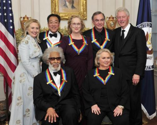 "Yo-Yo Ma, Meryl Streep, Neil Diamond, Sonny Rollins and Barbara Cook ""were saluted with Kennedy Center Honors"" on Sunday night. The 34th annual ceremony will air on December 27 at 9 p.m. ET/PT on CBS. [AP/CBS]"