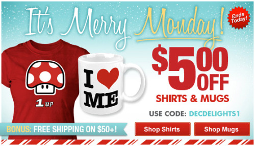 It's a Merry Monday over @zazzle $5 OFF Shirts and Mugs. Use code:DECDELIGHTS1 Plus FREE shipping on $50+ http://www.zazzle.com/detourdesignables