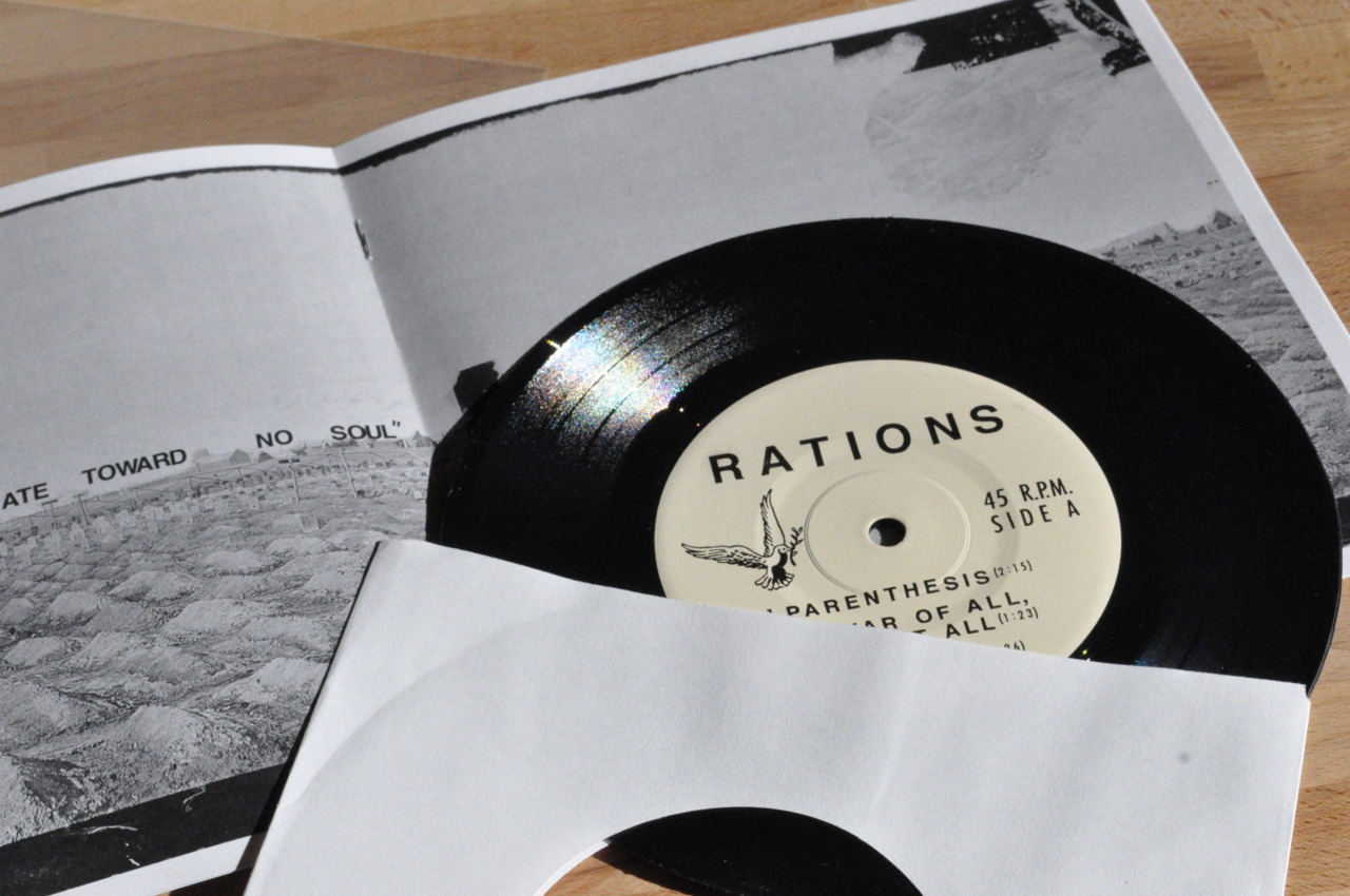 "Rations 7"" out December 12th Coming December 12th - RATIONS ""How Much Land Does A Man Need?"" 7""   EP. Five new songs in 10 minutes from Long Island, NY punkers. This is   the follow up to 2010's ""For Victory"" LP/CD. 7"" Comes packaged in a 12   page booklet w/ artwork, lyrics, and information. First stuff with Tia   from Fellow Project and ex-Bridge and Tunnel on bass.  The release is   split label cooperation among 10 US and international DIY labels. ""How Much Land Does A Man Need?"" was recorded by Ian Bryn (Fellow   Project), mastered by Dan Randall at Mammouth Sound (Seein' Red, Arctic   Flowers, The Credentials), with art by Righteous Indignation. Stream a song from the EP here. International D.I.Y. Punk Conspiracy: Drunken Sailor Records - UK Eager Beaver Records - Japan Jerk Store Records and Fanzine  - Australia Messner Records - Sweden Pavones Records  - Canada Lost Cat Records - MN, USA Rad Girlfriend Records - OH, USA 86'd Records - NY, USA Intense Human Victories - MA, USA Square of Opposition Records - PA, USA"