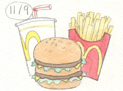 This is part of a daily comic I've been doing for my mom. It's a Big Mac.