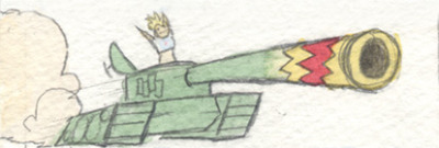 Part of one of the daily comics I've been making for my mom. It's a tiny Tank Girl (magnified here from the scanner.)
