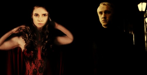 Draco see hermione all dressed up as red riding hood.