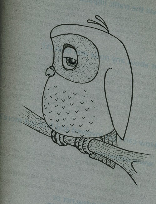Owl on scrap paper… I always doodle on scrap paper. I wrote a post about it here