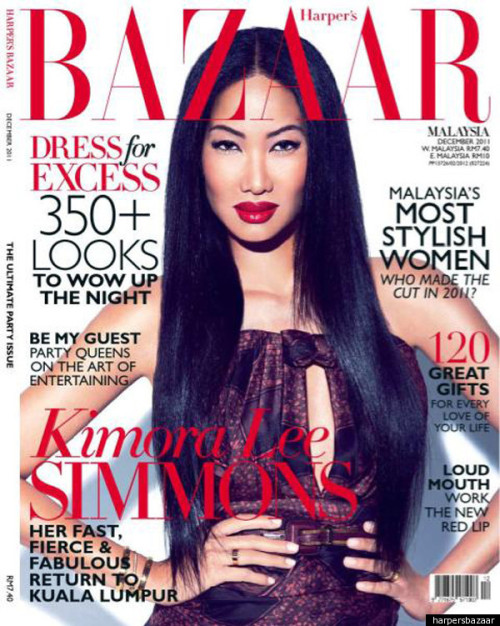 leswagfemme:  Kimora Lee Simmmons Covers Malaysia issue of Harper's Bazaar December issue.