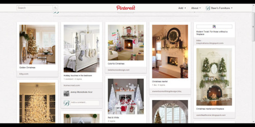 Pinterest is a virtual pinboard. Pinterest allows you to organize and share all the beautiful things you find on the web. You can browse pinboards created by other people to discover new things and get inspiration from people who share your interests. Use pinboards to plan your Christmas menu, decorate your home, and even for creating a wish list.  http://pinterest.com/baersfurniture/christmas-inspirations/