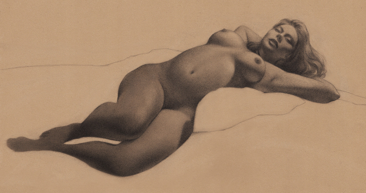 an obligatory figure drawing of a naked girl on the bed.  by Sam Wolfe Connelly
