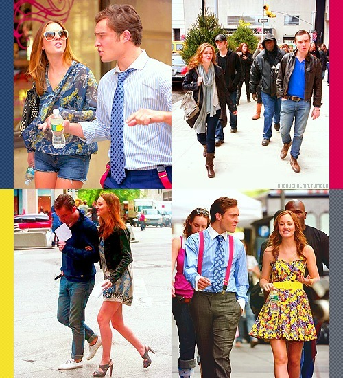 Ed Westwick & Leighton Meester. Walking together on Gossip Girl Set