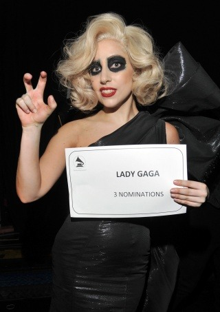 "Lady Gaga backstage at ""The GRAMMY Nominations Concert Live!!"" on Nov. 30  [Photo: Lester Cohen/WireImage.com]"