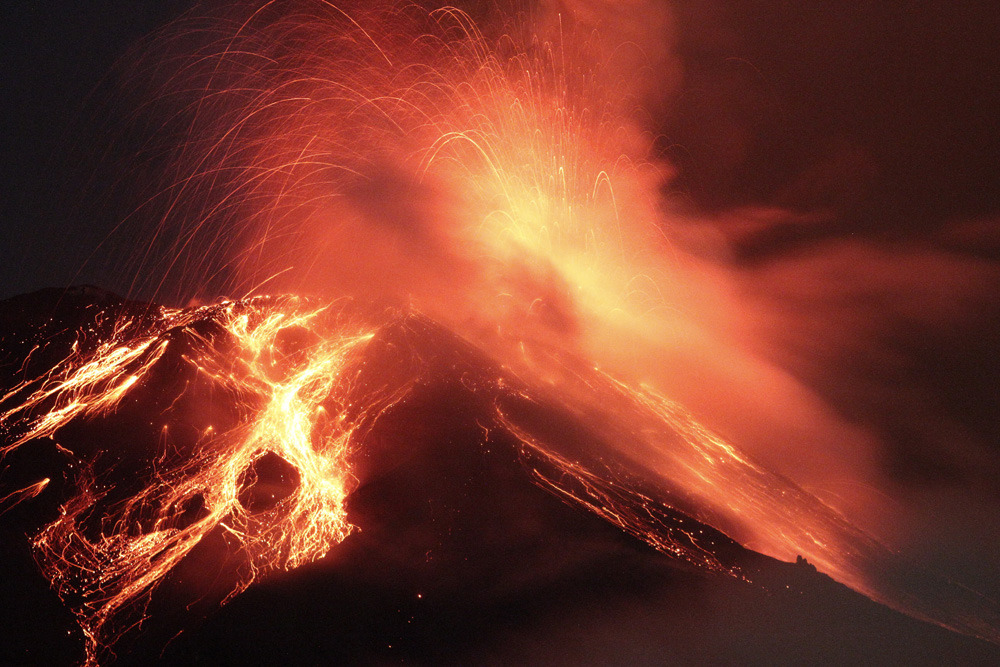Photos of the dayThe Tungurahua Volcano spews incandescent rocks and lava near the town of Runtun, Ecuador, Dec. 4, 2011. (PABLO COZZAGLIO/AFP/Getty Images) http://natpo.st/uZf0gV