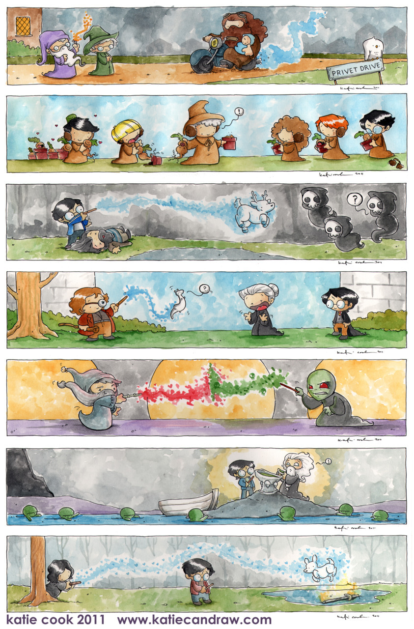 katiecandraw:a very nice guy commissioned me to draw one scene from each of the harry potter books. this is what i came up with! each of these is 17