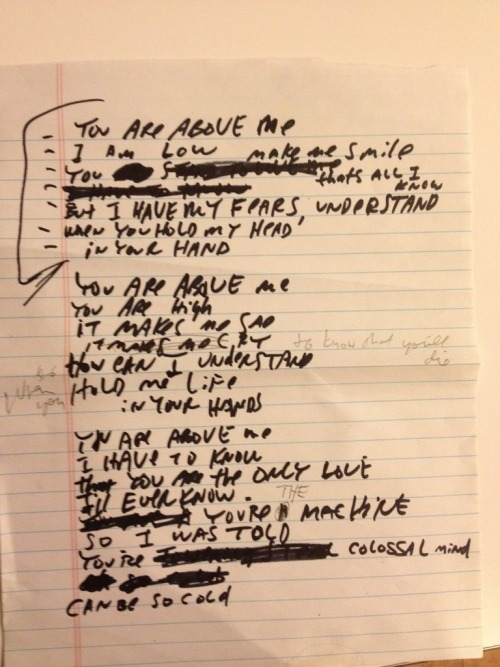"Lyric sheet for ""The Brain of Heaven"", an unreleased collaboration with Yoko Ono Plastic Ono Band."