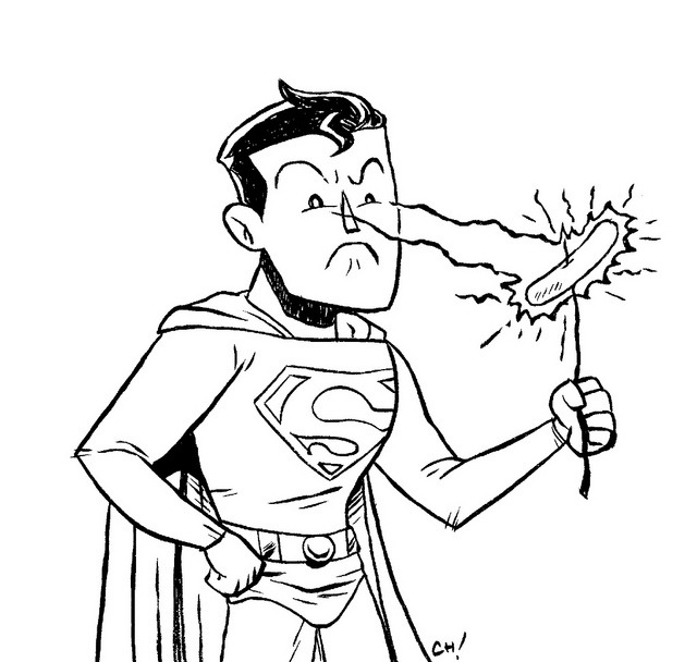thechrishaleycoloringbook:    Here I have drawn Superman cooking a hot dog with his HEAT VISION for you to color! I think this may have been Dylan's idea when we were talking about things we'd do if we were Superman one day.   You can print this out (full-sizes here) and color it with crayons or on the computer all fancy like if that's your thing. Either way is totally fine with me, just be sure to let me know how it turns out by giving me a shout on Twitter or dropping it in the Submissions Box! As always, sharing is caring, so if you like this or think other people you know might like to color it, reblog it or print it out and give it to them. xoch