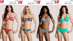 "H&M puts real model heads on fake bodies. via Jezebel:  The bodies of most of the models H&M features on its website are computer-generated and ""completely virtual,"" the company has admitted. H&M designs a body that can better display clothes made for humans than humans can, then digitally pastes on the heads of real women in post-production. For now — in the future, even models' faces won't be considered perfect enough for online fast fashion, and we'll buy all of our clothing from cyborgs. (This news sort of explains this.) But man, isn't looking at the four identical bodies with different heads so uncanny? Duly noted that H&M made one of the fake bodies black. You can't say that the fictional, Photoshopped, mismatched-head future of catalog modeling isn't racially diverse.   eta that literally no one will see: we've started a petition on Change.org asking H&M to either end this practice or expand it to include customizable body types—a tool they USED to have and that's easily attainable through this technology."