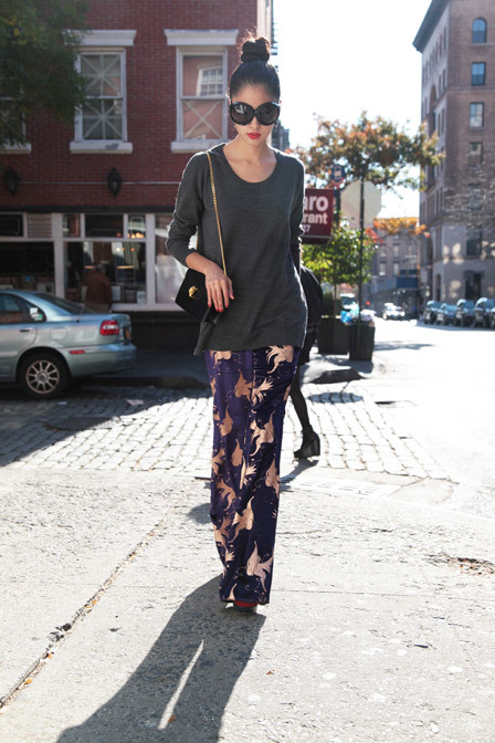 "glamour:  That cool girl wearing velvet pants in the middle afternoon? Her name is Denni.    YEAH WHEN I WEAR THESE KINDS OF PANTS IN THE AFTERNOON, PEOPLE ARE ALL, ""HEY WHY YOU STILL IN YOUR PJ'S?  PUT ON SOME DAMN CLOTHES LAZY ASS""  BUT THIS GIRL IS COOL? WTF"