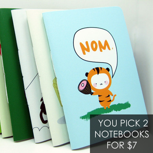 We're doing 2 Notebooks for $7 for a limited time in the Etsy shop! http://thetinyfig.etsy.com