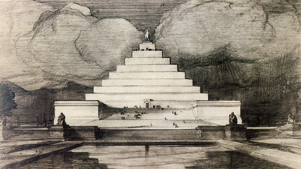 "smithsonianmag:  The Monuments That Were Never Built  ""Unbuilt Washington,"" the newest exhibition at the National Building Museum in Washington, D.C, highlights over 100 architectural projects proposed for the nation's capital since 1791.  Pictured is John Russell Pope's 1912 bizarre proposal for the Lincoln Memorial. Photo courtesy of the National Archives"