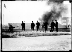fuckyeahwhitesox:  The White Sox vs. the Cubs, and eerie black smoke, 1912.