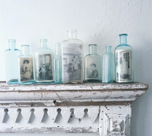 diy decor with glass jars and vintage photos