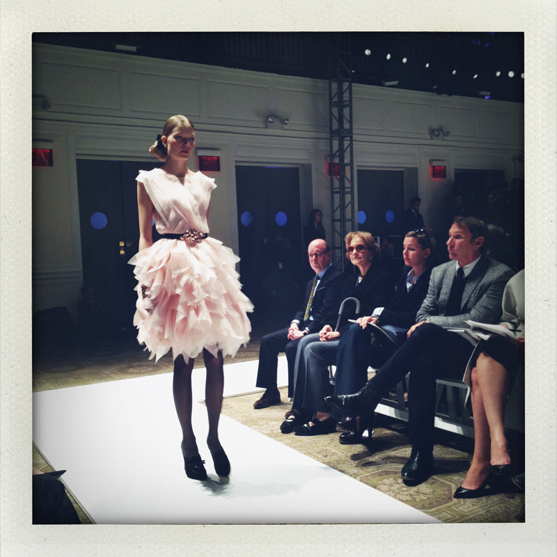 A pretty pink look from today's Oscar de la Renta show! Photo: Abby Gardner