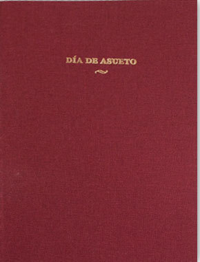 "Title: Dia de AsuetoAuthor: Santiago da Silva Donated by: Colour me In & Ediciones Hungría. Santiago da Silva lives and works in Berlin. Half Portuguese and definitively Mexican: Santiago is a genius. Día de asueto is a small book that belongs to Ediciones Hungría. Gold foiled and hand stitched, this book is half drawings and half literature where the main character describes the discrete sensations that one could be filled with when freed from school or our daily jobs. In it we can find some nudity, some of it also includes a series of strange stretch exercises impregnating it with a "" je ne sais quoi"" that makes it both marvelous and delightful. edicioneshungria (dot) com"