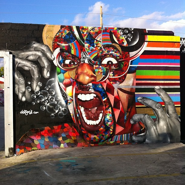 Chor Boogie's latest piece at the Montana compound.   #chorboogie #artbasel #wynwood #graffiti #mural #miami #art #streetart  (Taken with Instagram at Wynwood Arts District)