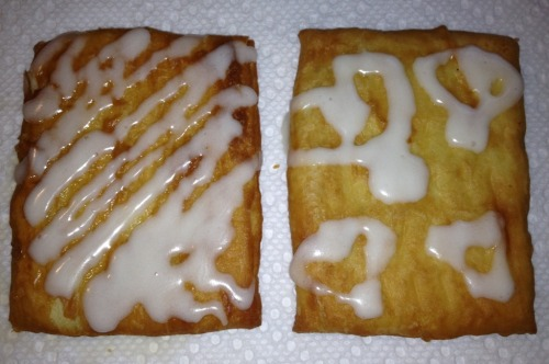 Strawberry and cream cheese toaster strudels with icing for breakfast! Yummy :)