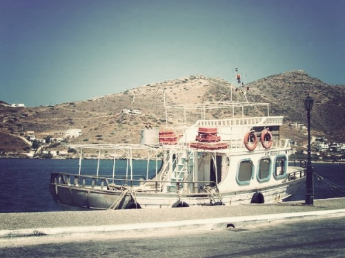 A bucolic fisherman boat next the port of Ios - The Cyclades