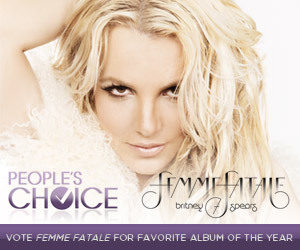 Have you voted Femme Fatale for People's Choice Favorite Album of Year? Polls close tomorrow at 11:59pm ET - get your last minute votes in HERE: http://bit.ly/VoteFemmeFataleDon't forget you can also tweet your vote by using these 3 hashtags:#FemmeFatale #album #PeoplesChoice