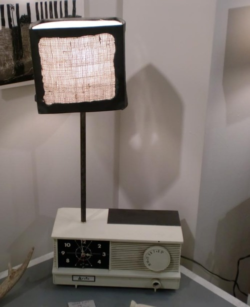 """silent light""vintage radio, welded steal, burlap, wiring bitsmike pope fall 2011"